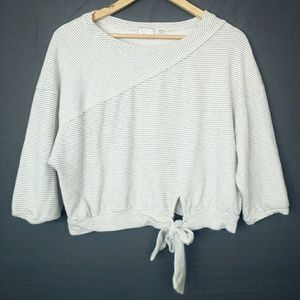 Anthropologie Postage Stamp Cropped Sweatshirt Top
